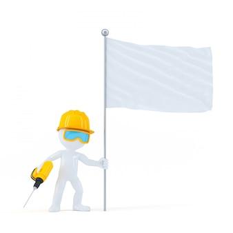 Trabajador de la construcción con taladro y bandera en blanco