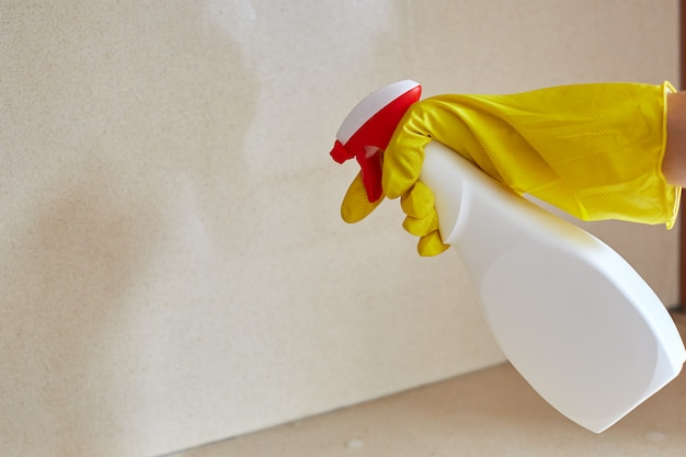 Trabajador de control de plagas rociando pesticidas dentro de la casa