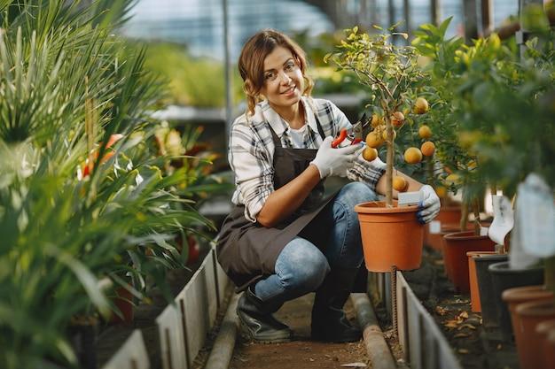 Trabajador cuida las macetas. chica con camisa blanca. mujer en guantes