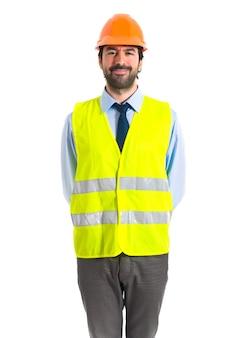 Trabajador sobre blanco