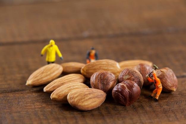 Trabajadores miniatura que trabajan con almendras y nueces