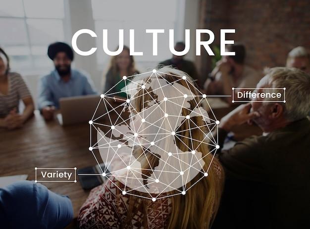 Trabajadores que tienen un gráfico de red de reunión juntos