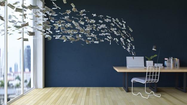 Trabajando en línea en la computadora portátil ganando dinero