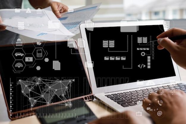 Trabajar duro análisis de datos estadísticas información empresarial tecnología