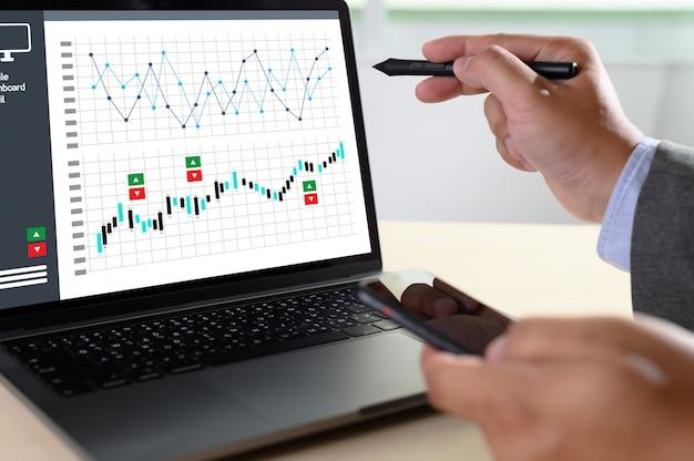 Trabajar duro análisis de datos estadísticas informática tecnología empresarial