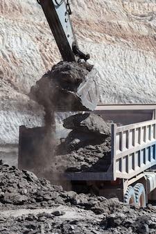 Trabajo de retroexcavadora en la mina de carbón.