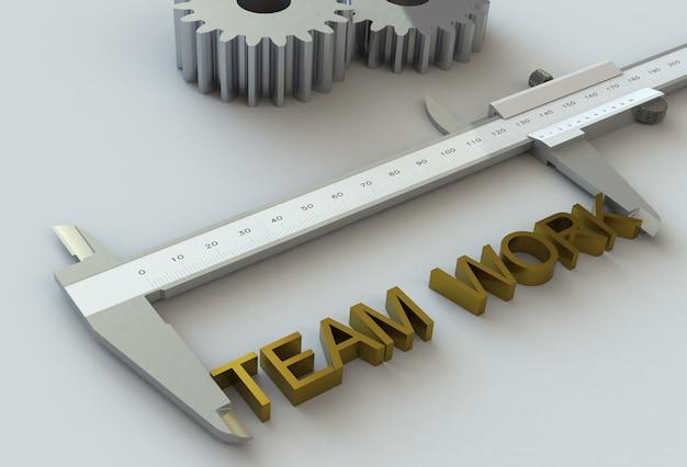 Trabajo en equipo, mensaje en calibre a vernier