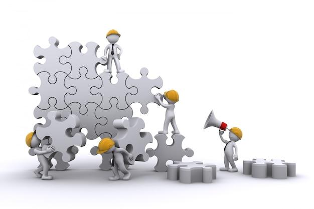 Trabajo en equipo de negocios construyendo un rompecabezas. concepto de negocio de construcción.