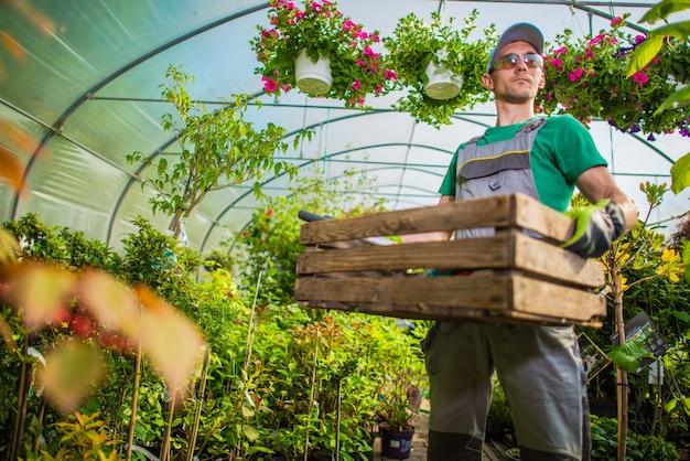 Trabajo de invernadero de jardinero