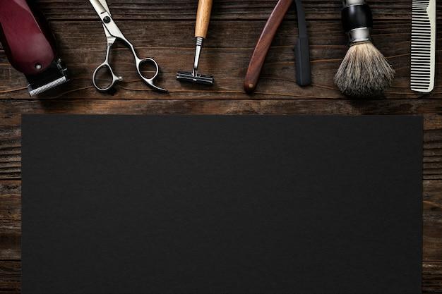 Trabajos de papel de peluquero vintage y concepto de carrera