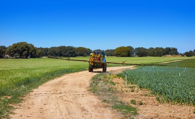 Tractor de fumigación en campo de cereal y cebolla.