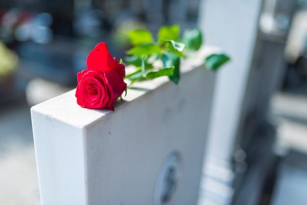 Tradición religiosa para poner una flor en memoria de los difuntos en la losa de granito de la