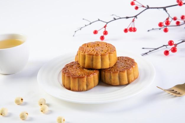 Tradicional pastel de luna del festival del medio otoño
