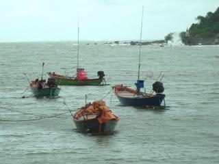 Tradicionales barcos de pesca tailandés