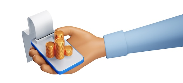 Transacción en línea a través de teléfono inteligente, envío y recepción de monedas y concepto de pago en línea. ilustración 3d