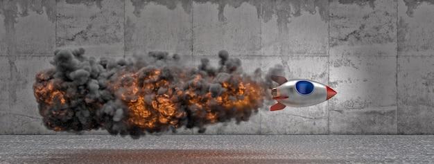 Transbordador espacial de estilo de dibujos animados vintage con llamas de humo