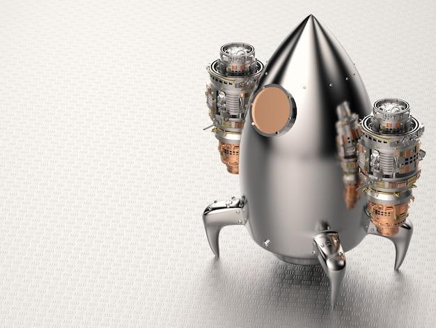 Transbordador espacial de metal brillante de renderizado 3d