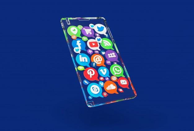 Transparente concepto 3d mobil phone con aplicaciones de redes sociales