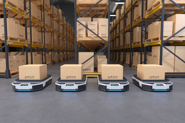 Transporte autónomo de robots en almacenes concepto de automatización de almacenes