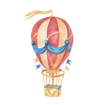 Transporte globo dirigible acuarela ilustración dibujado a mano imágenes prediseñadas bebé lindo conjunto gran cinta de árbol de máquina de escribir retro vintage para inscripción imágenes para vivero