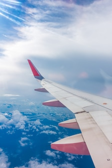 Transporte, mosca, nubes, jet, vuelo