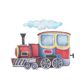 Transporte tren remolque ilustración acuarela dibujado a mano imágenes prediseñadas bebé lindo conjunto gran cinta de árbol de máquina de escribir retro vintage para imágenes de inscripción para vivero p