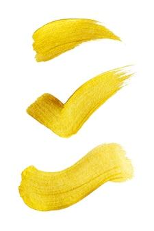 Trazo de pincel de pintura dorada. resumen de oro brillante con textura ilustración del arte.