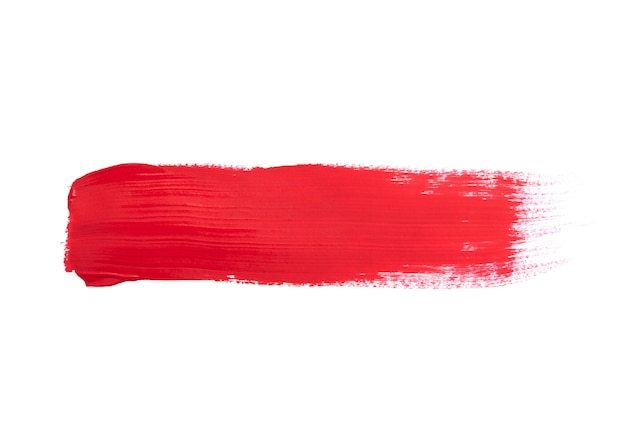 Trazos de pincel rojo aislado en blanco