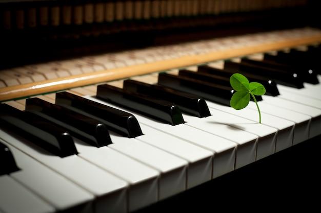 Un trébol entre las teclas de un piano