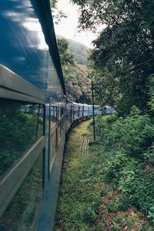Tren azul cruzando una plantación de té en asia