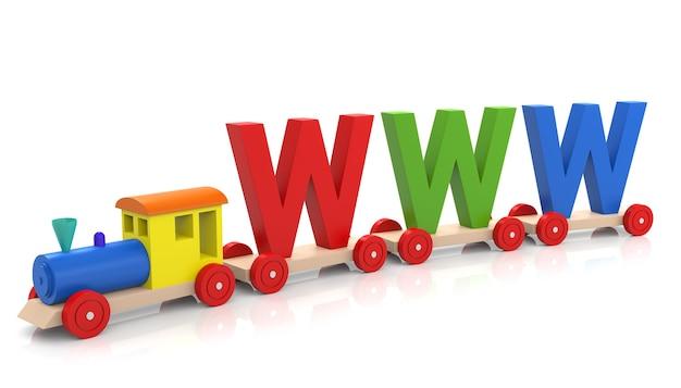 Tren de juguete con letras www, aislado sobre fondo blanco. representación 3d