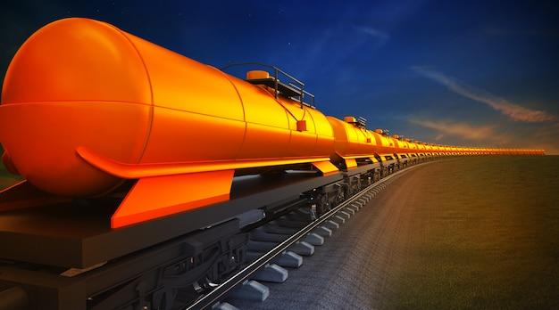 Tren de mercancías con cisternas de aceite en el fondo del cielo