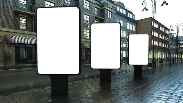 Tres cajas de luz en la calle de noche
