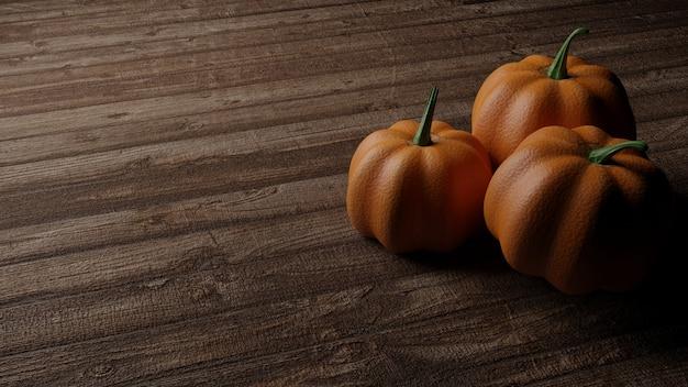 Tres calabazas en el fondo de la mesa de madera, render realista 3d
