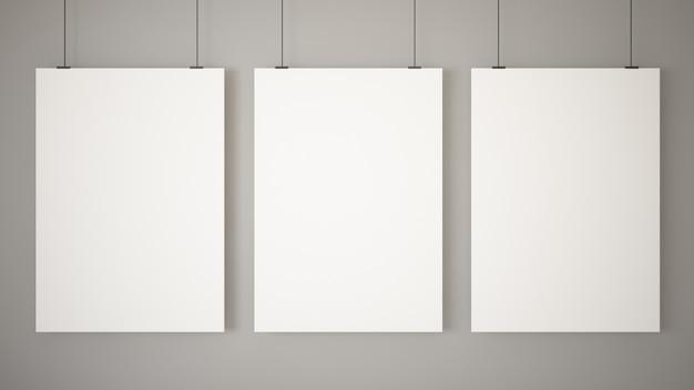 Tres carteles en blanco