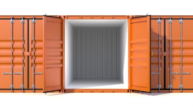 Tres contenedores de carga vacíos, uno vacío con puertas