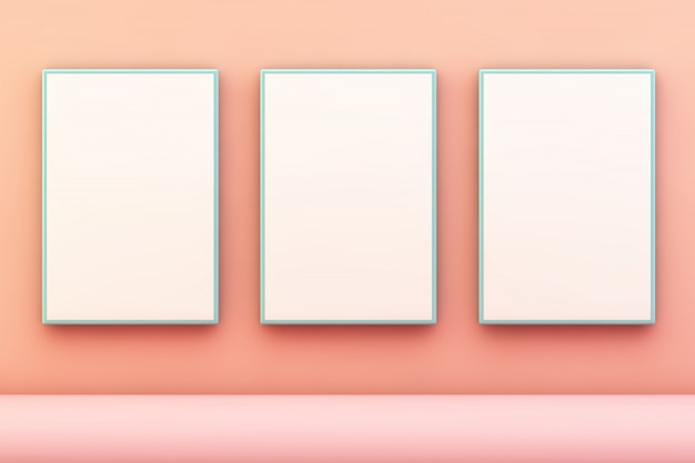 Tres cuadros azules en pared rosa