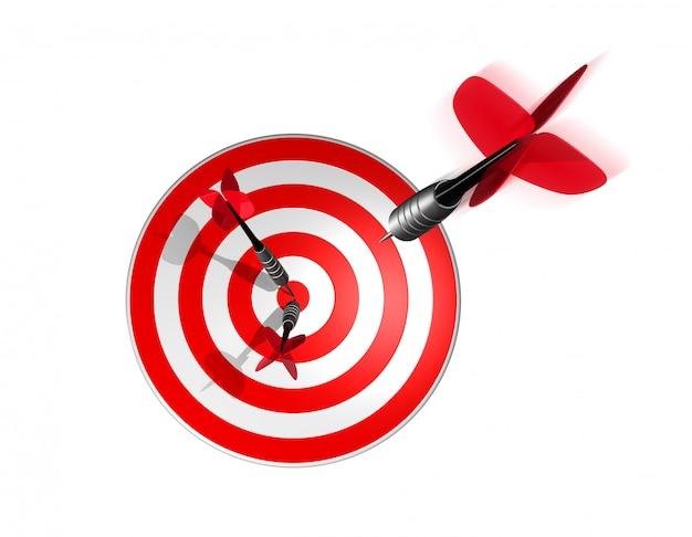 Tres dardos justo en el centro del objetivo.