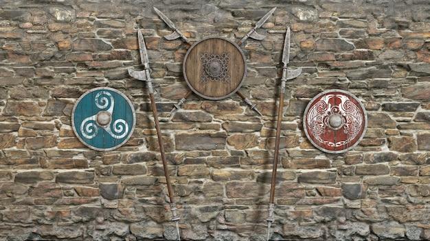 Tres escudos y lanzas contra un muro de piedra. ilustración 3d