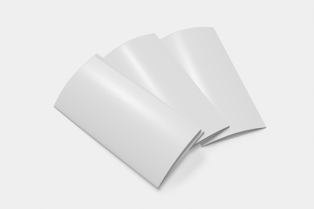 Tres folletos cerrados sobre fondo blanco.