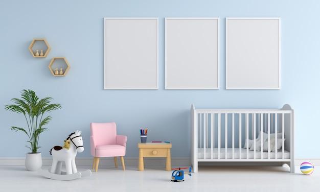 Tres fotos en blanco en la habitación del niño