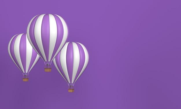 Tres globos de aire caliente morados con rayas blancas sobre fondo morado con espacio de copia. representación 3d.