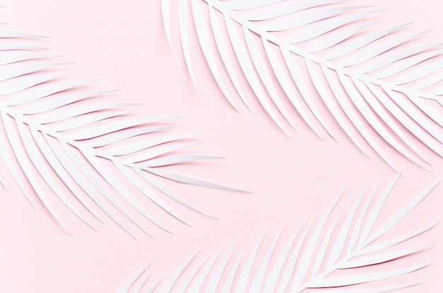Tres hojas de palma de papel en la mesa de color rosa