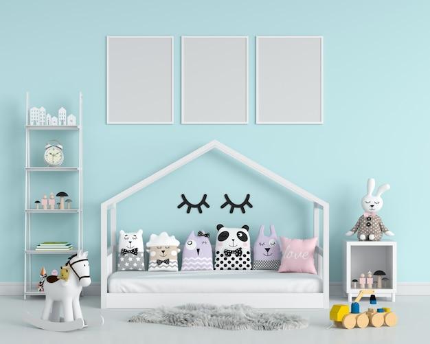 Tres marco de fotos vacío para maqueta en dormitorio infantil