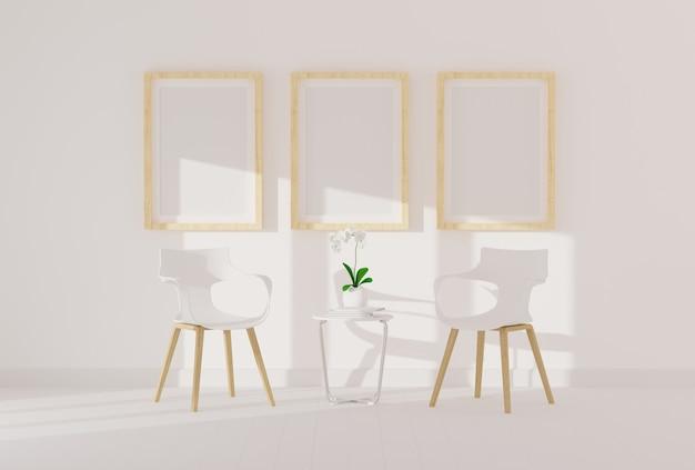 Tres marco de fotos vacío para maqueta en la moderna sala de estar