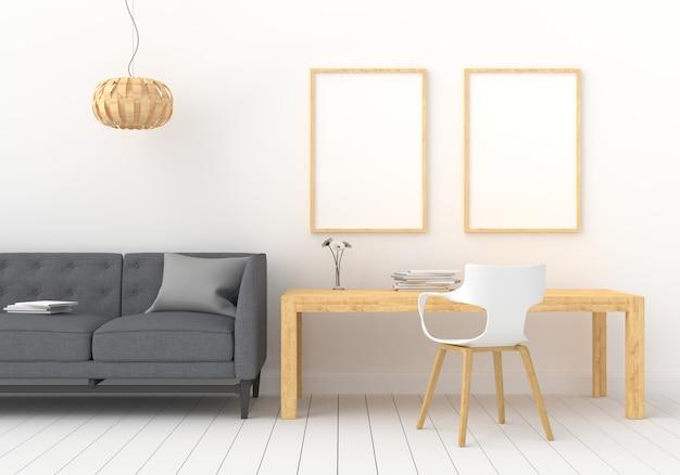 Tres marco de fotos vacío para maqueta en sala blanca