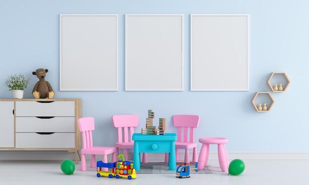 Tres marcos de fotos en blanco para maqueta en habitación de niños