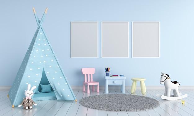 Tres marcos de fotos vacíos para maqueta en sala de niños