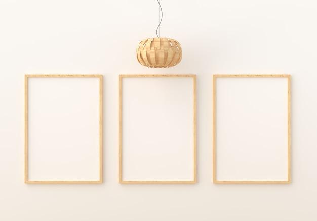 Tres marcos de fotos vacíos para maquetas en la moderna sala de estar