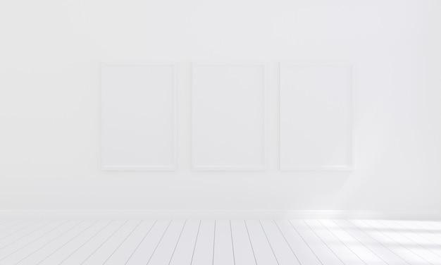 Tres marcos de fotos vacíos para maquetas en sala blanca vacía, render 3d, ilustración 3d